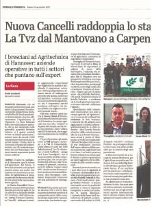 Giornale di Brescia 14/11/15 Nuova cancelli raddoppia lo stabilimento